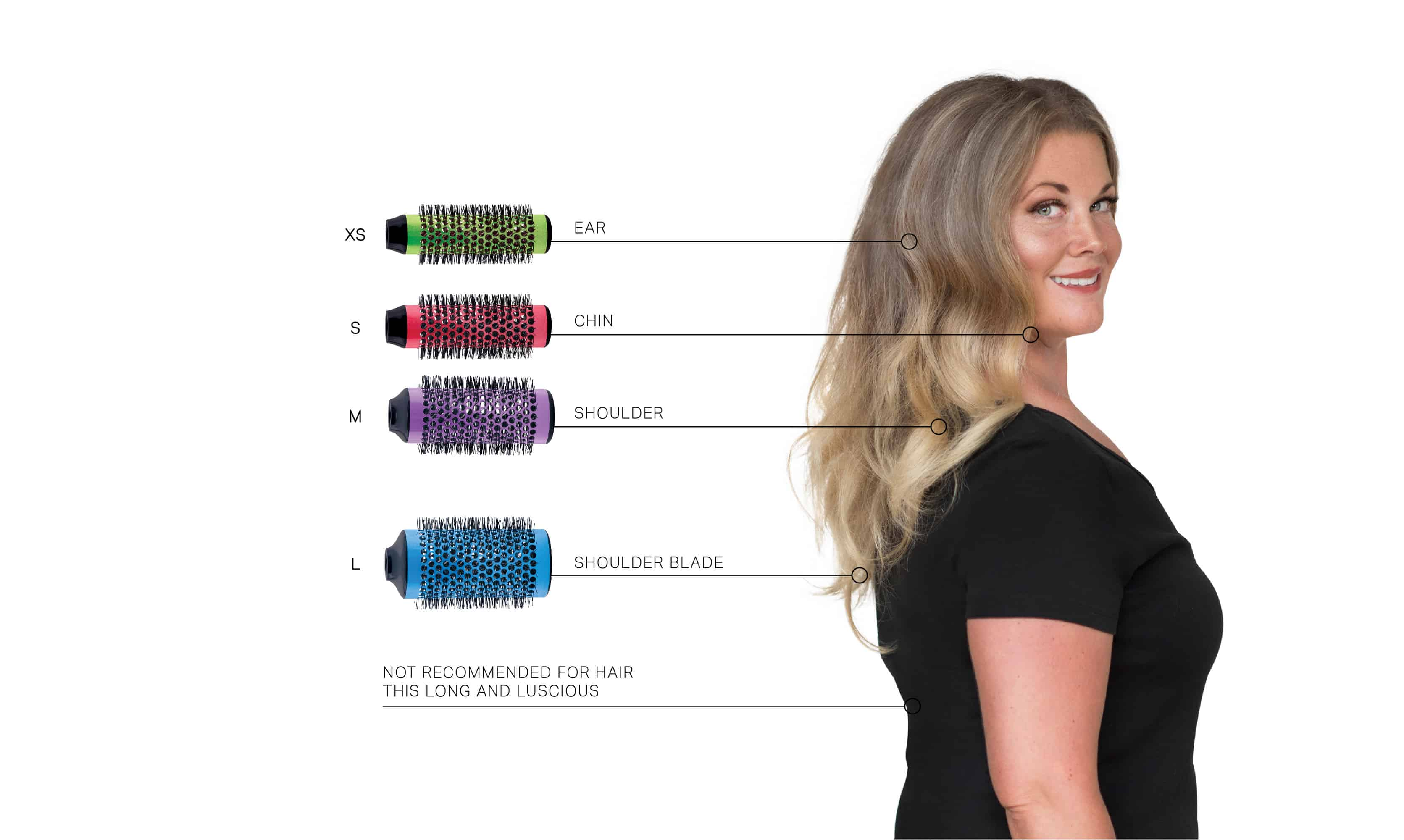 A Guide to which of the Click n Curl Blowout Brushes you should use based on your hair length