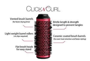 Visual for Benefits of Click n Curl Blowout Brush