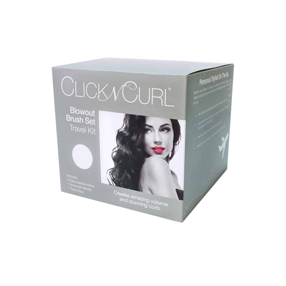 A Black and White image of a Click n Curl Blowout Brush Travel Kit