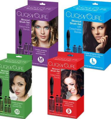 The Four Boxes for the Different Sizes of the Click n Curl Blowout Brush