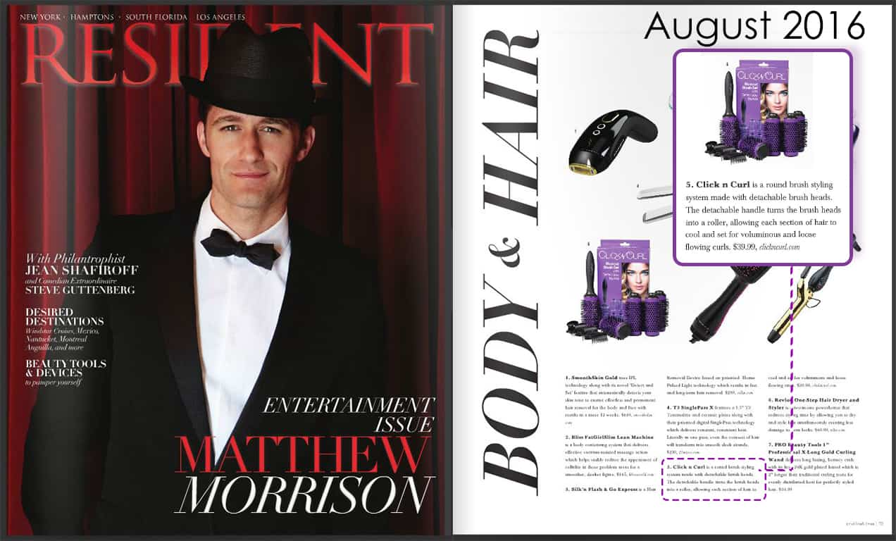 Click n Curl featured in RESIDENT Magazine 8/16 in their Hair & Body Tool Roundup