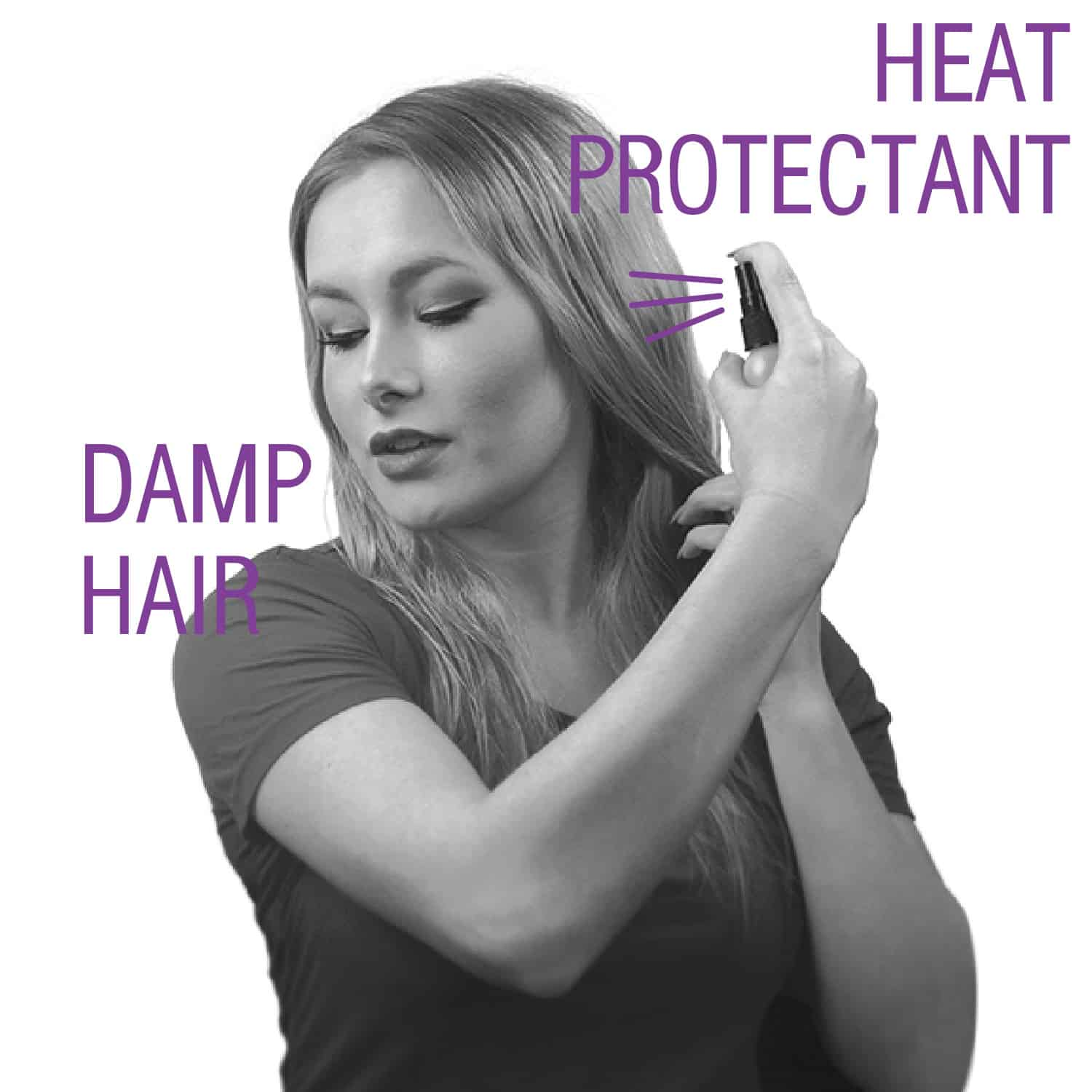 "Step by Step for using Click n Curl. ""Apply Heat Protectant to Damp Hair"""