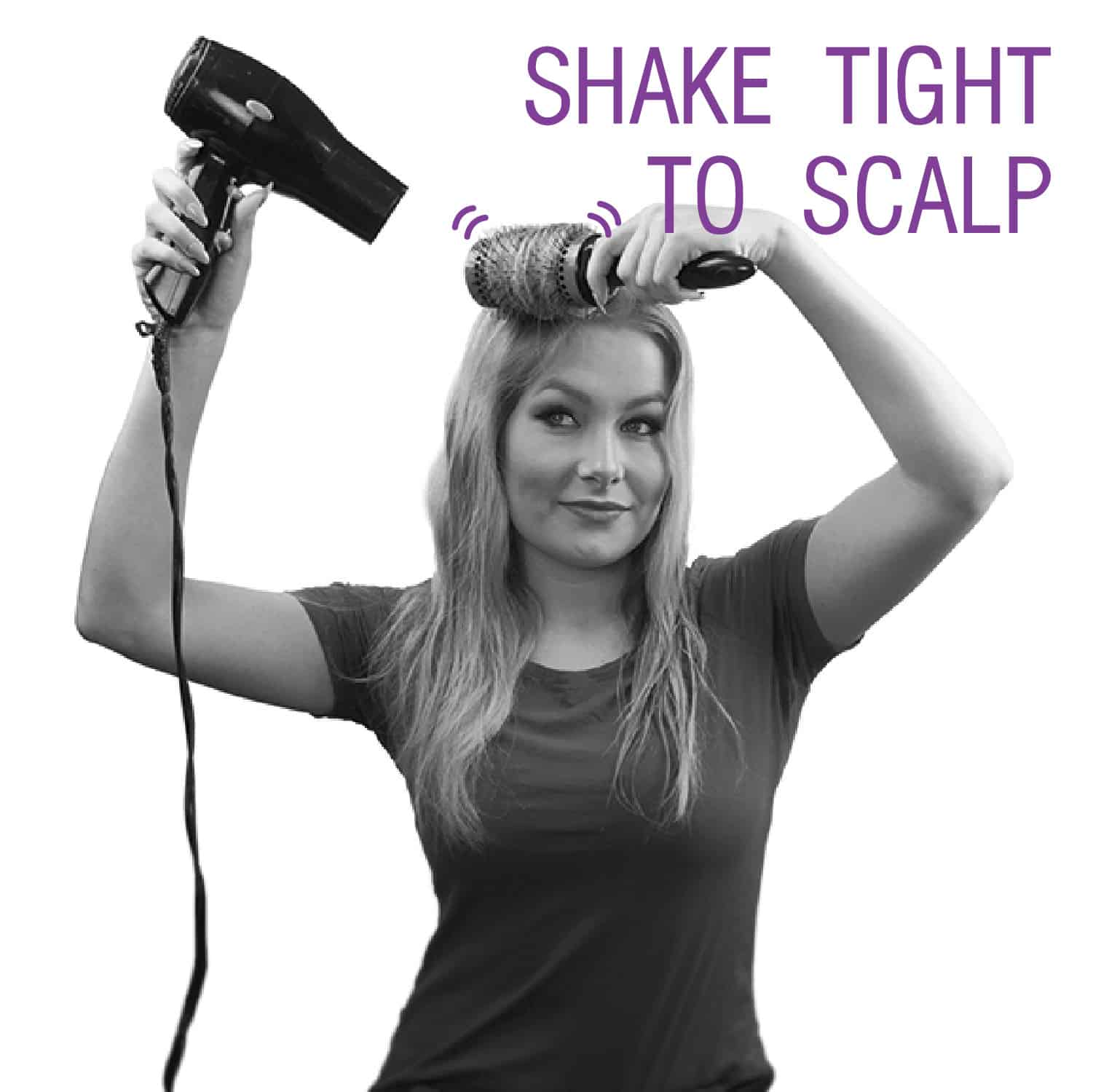 "Step by Step Image for showing how to use Click n Curl. ""Shake Tight to Scalp"""