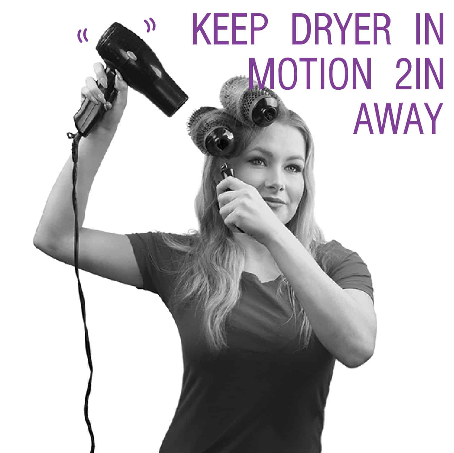 "Step by Step Image for using Click n Curl. ""Keep Dryer in Motion 2 Inches Away"""