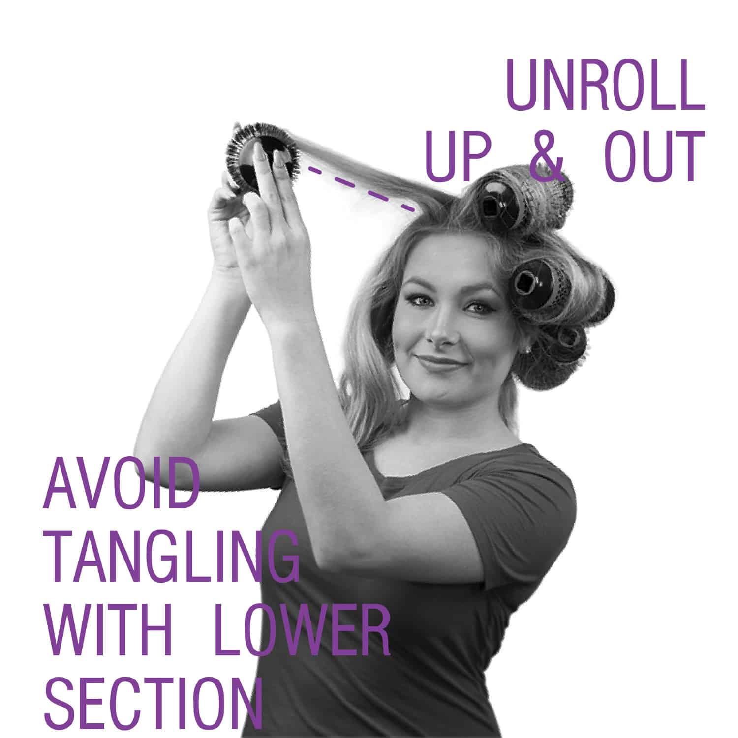 "Step by Step Image showing how to use Click n Curl. ""Unroll Up & Out, Avoid tangling with lower section"""