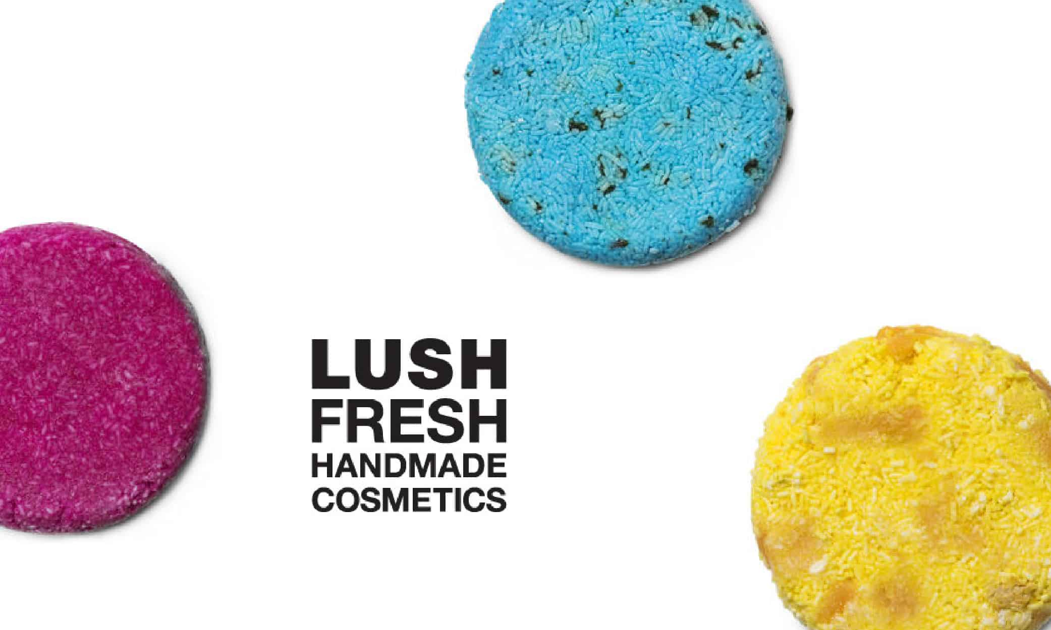 Three Lush Fresh Handmade Cosmetics in the colors of Blue, Pink and Yellow