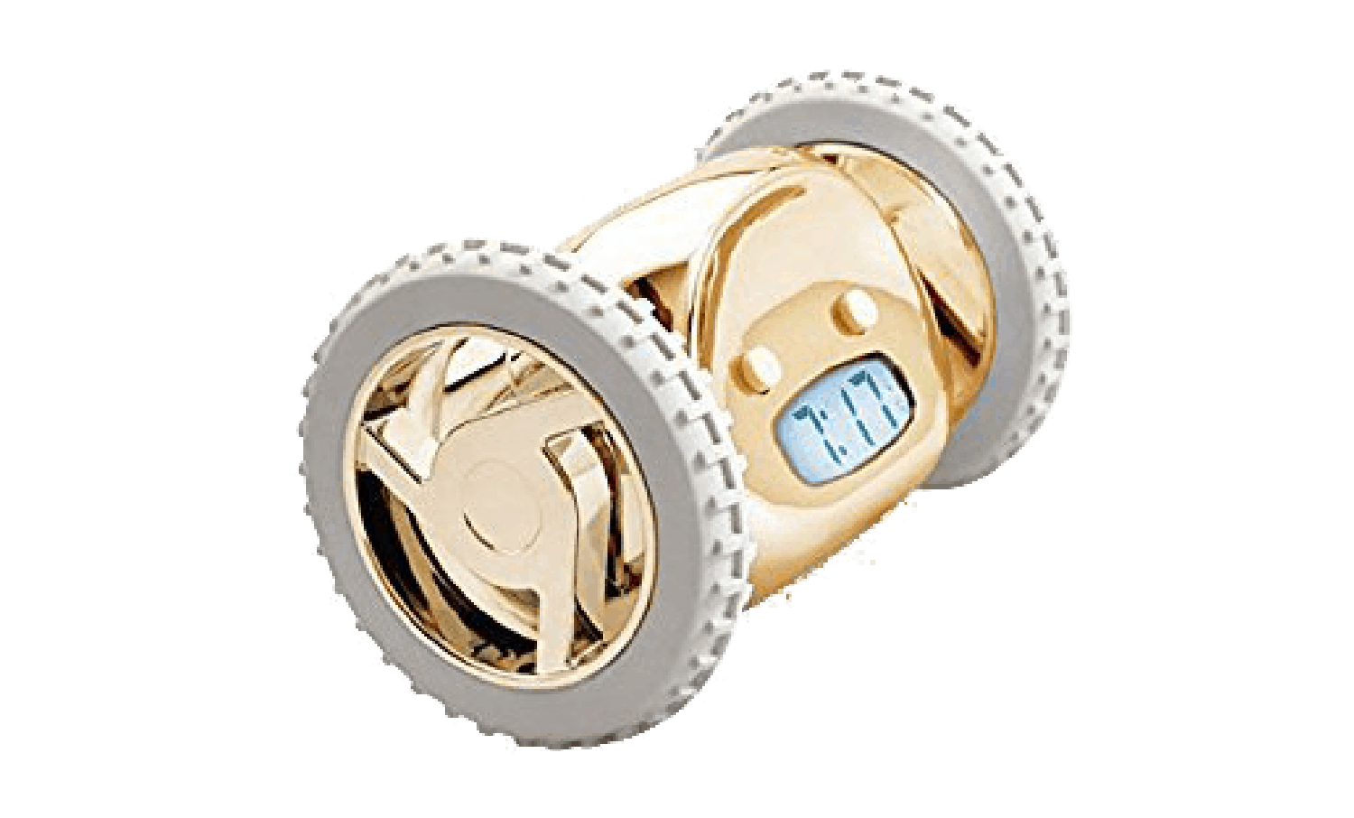 A golden and white alarm clock with wheels