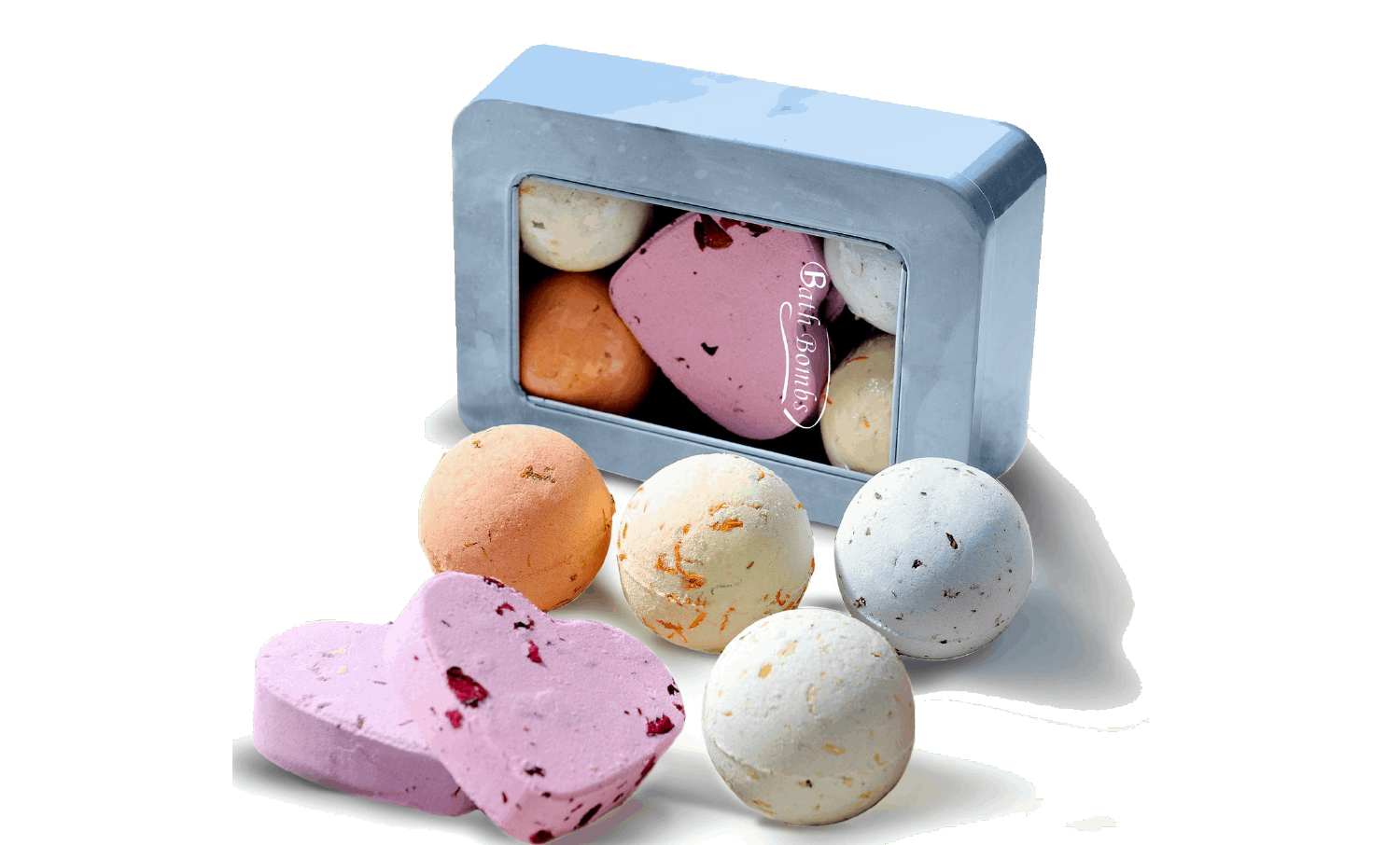 A light blue box of Bath Bombs