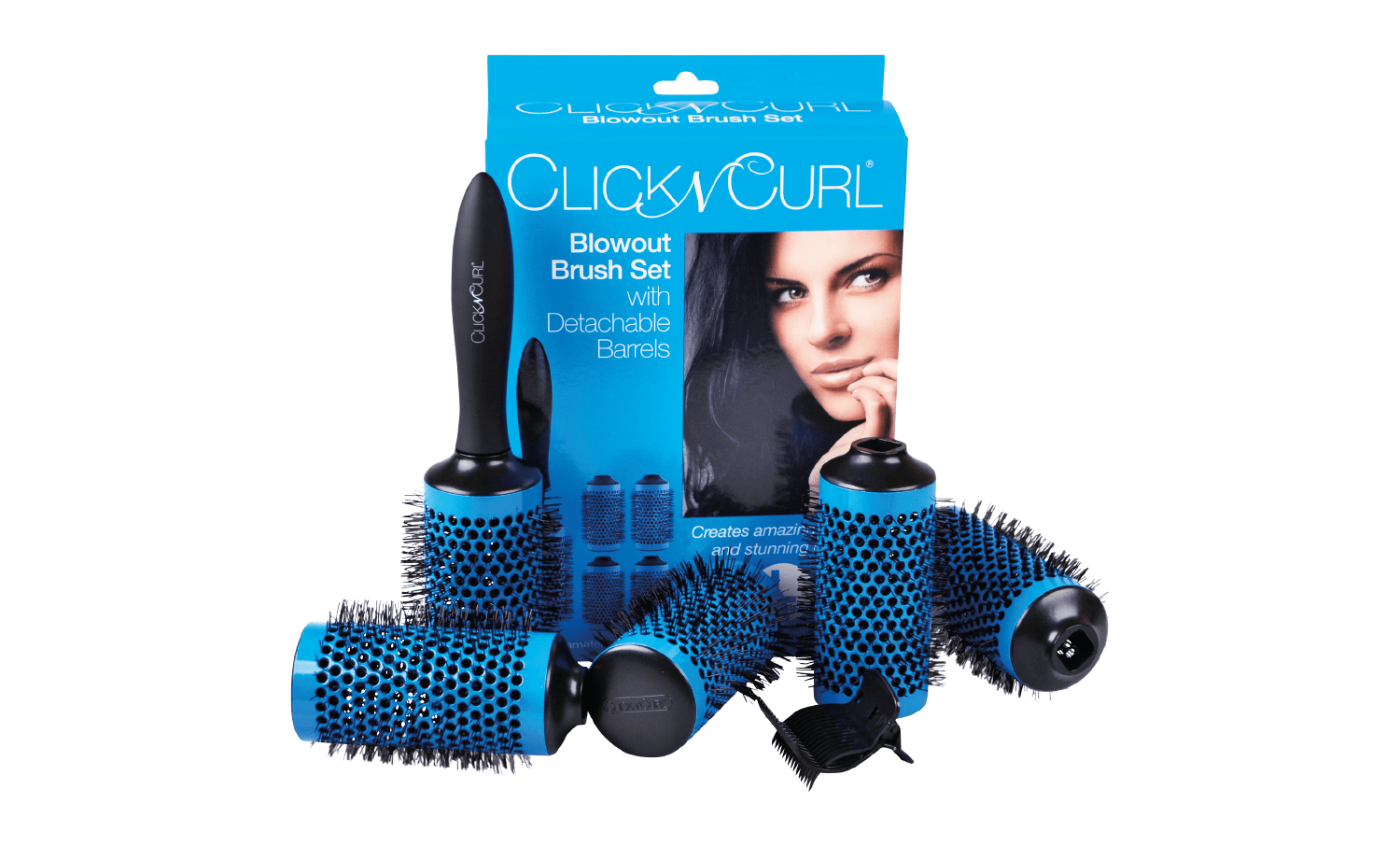 A set of Large Blue Click n Curl Blowout Brush Full Set