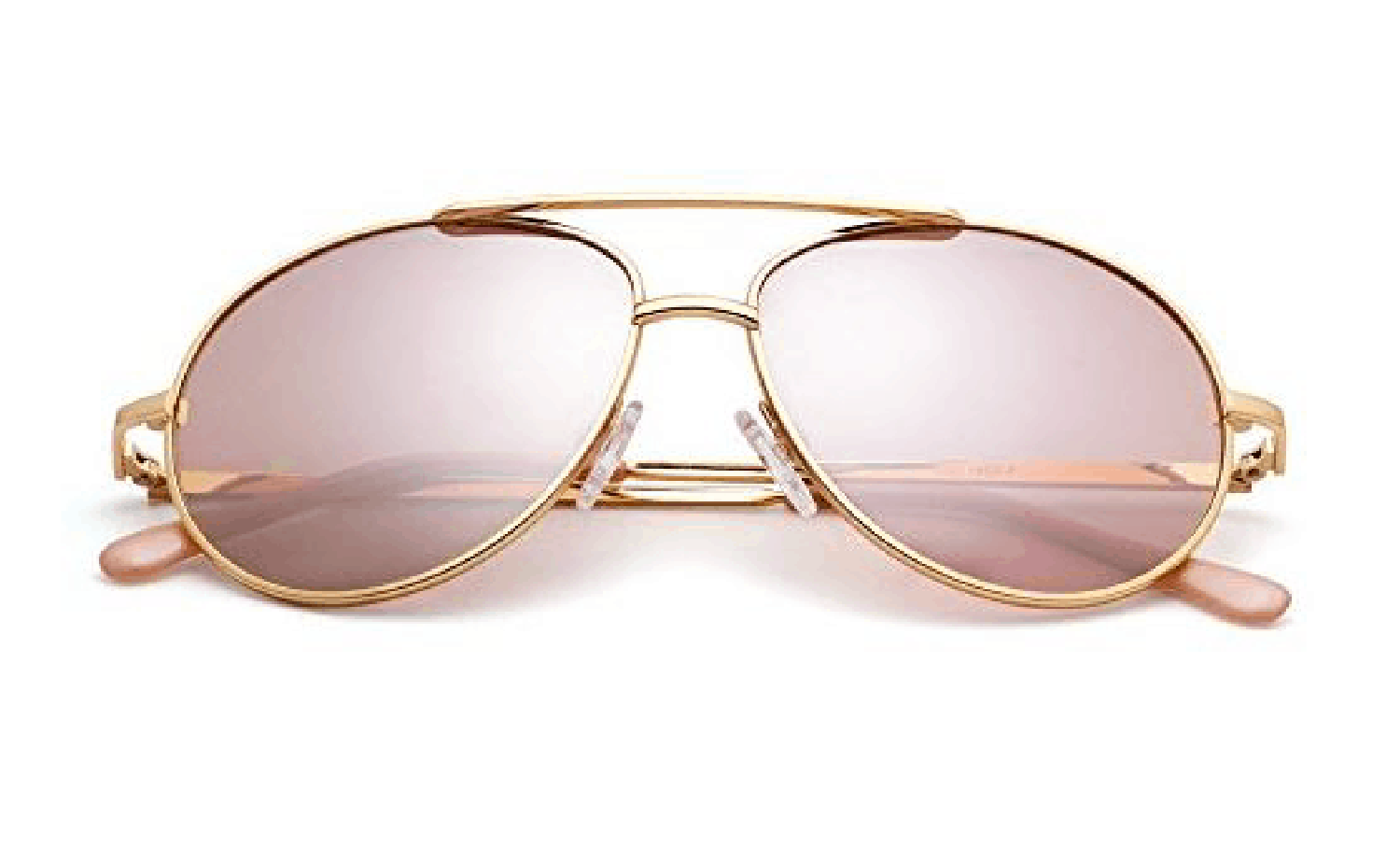 Gold and Light Pink Aviator Sunglasses