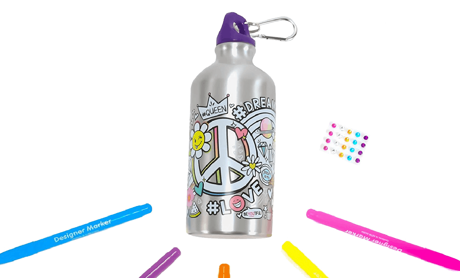 A color your own metallic water bottle